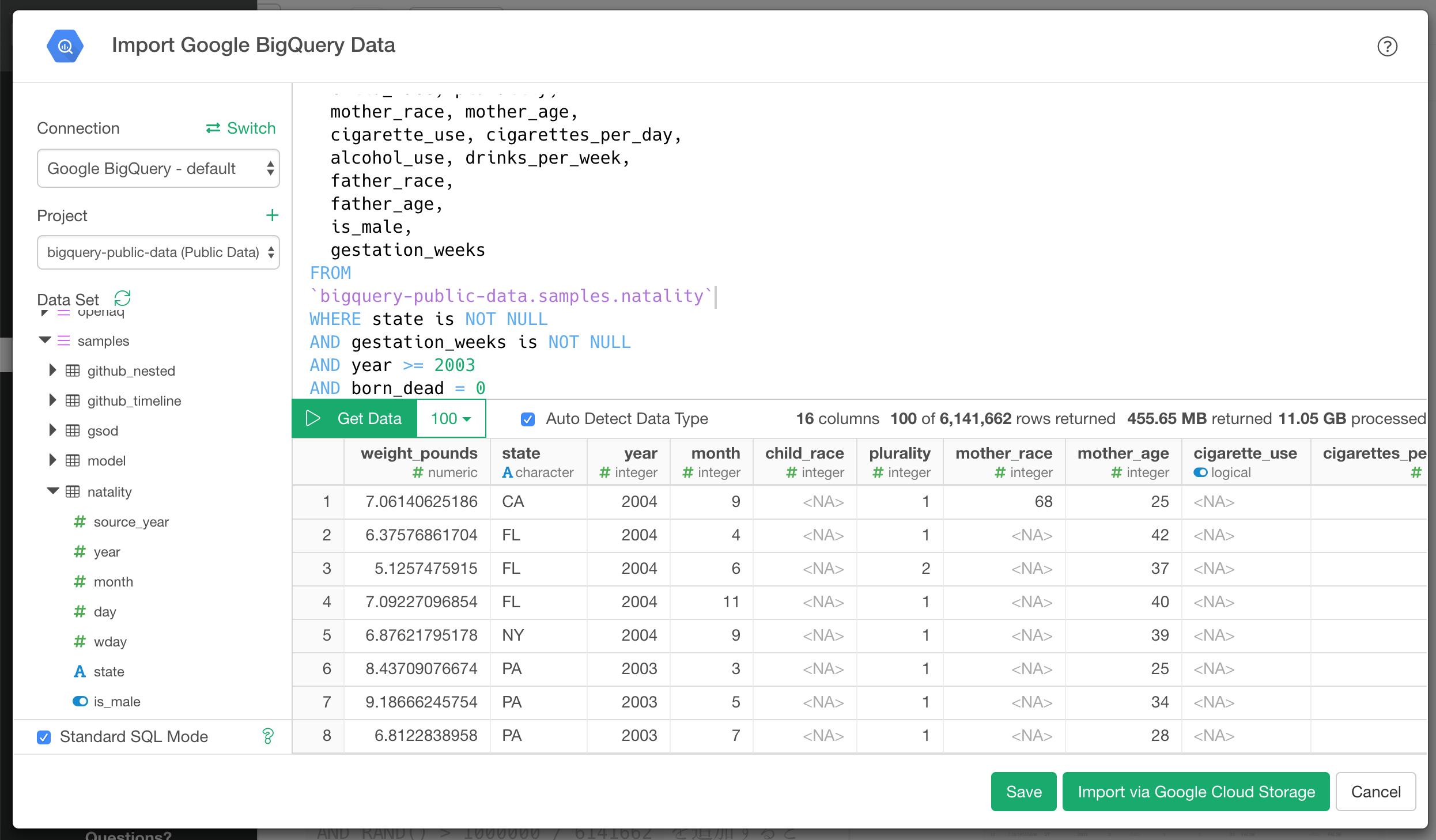 Analyze Google BigQuery data with Exploratory